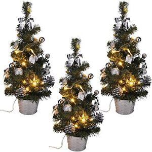 3x led weihnachtsbaum k nstlicher tannenbaum christbaum tanne deko 45 cm silber ebay - Led deko tanne ...