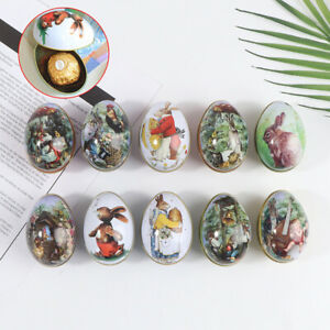 Metal Easter Egg Shaped Candy Tin Bunny Rabbit Candy Chocolate Party Decoration