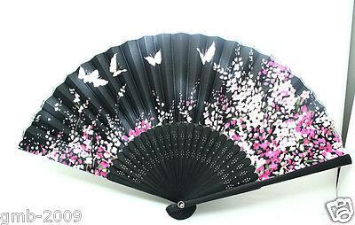 Japanese Black Hand Held Flower&Butterfly Silk Bamboo Folding Wedding Fan