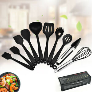 10Pcs-Kitchen-Silicone-Utensils-Sets-Cooking-Baking-Non-stick-Spatula-Turner-UK