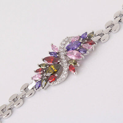 """Newest design 18k white gold filled colorful charms chic bracelet 7.5"""" 21.1g"""