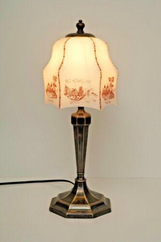 Einzigartige französische Art Déco Tischleuchte versilbert Lampe Messinglampe