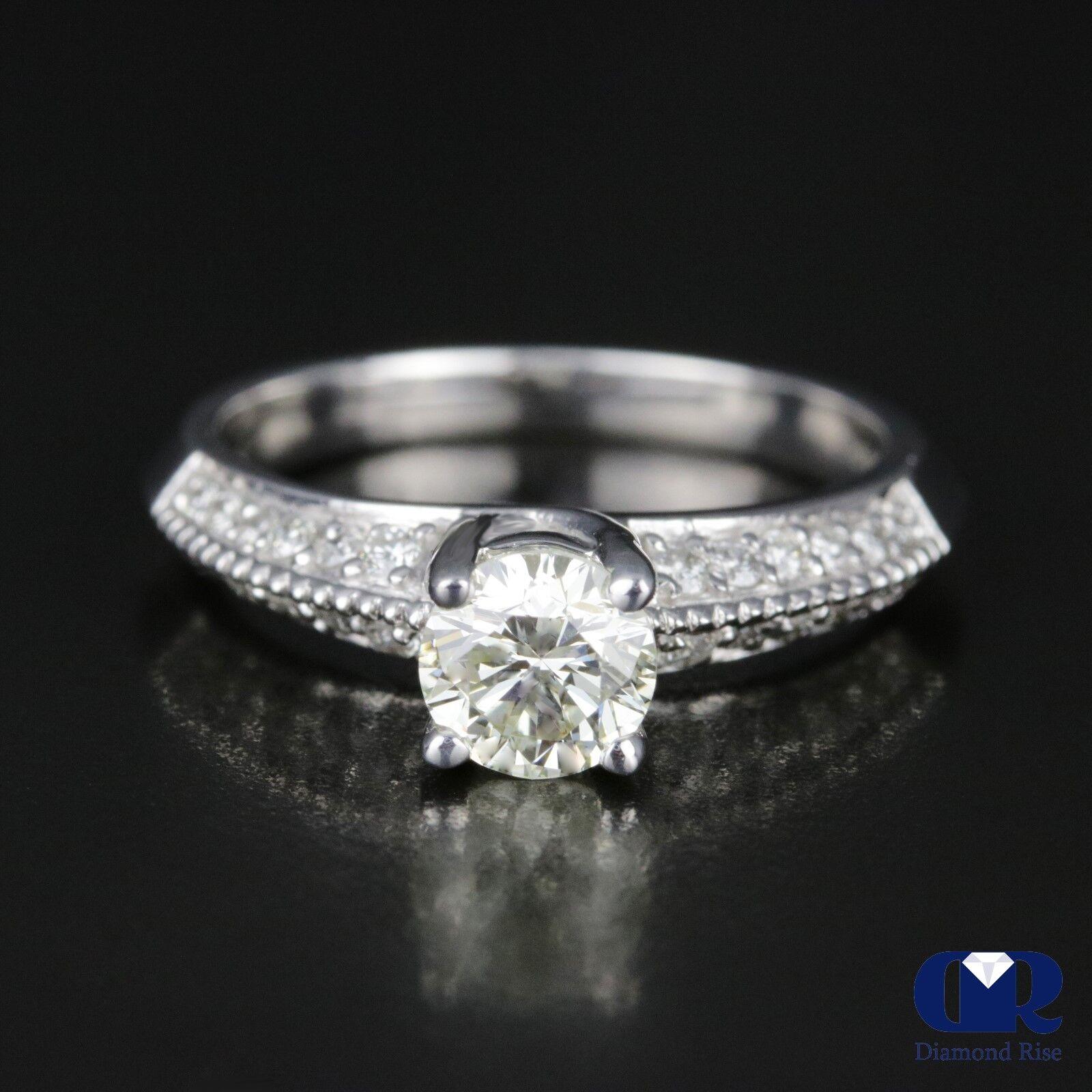 397742985 0.98 Carat Round Cut Diamond Engagement Ring In 14K White Gold | eBay