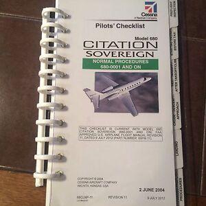 Details About Cessna Citation Sovereign 680 Pilot S Checklist