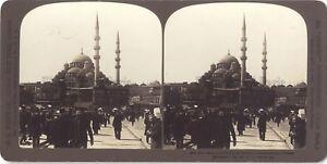 Costantinopoli-Moschea-Turchia-Foto-Stereo-Stereoview-Analogica-Vintage