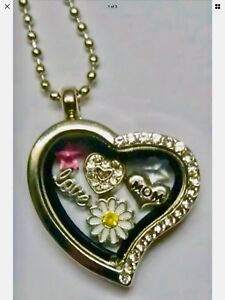 MOM-Love-HEART-Daisy-FLOWER-Heart-Gems-Floating-Locket-Charm-Necklace-GIFT-BOX