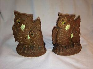 VTG-Burr-wood-Owl-Bookends-Animal-Brown-Country-Primitve-Boho-Home-Decor