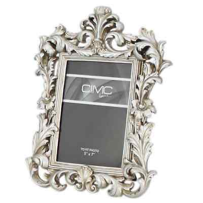 """GLASS MISSING Champagne Silver 5"""" x 7"""" Baroque Shabby Vintage Chic Photo Frame"""