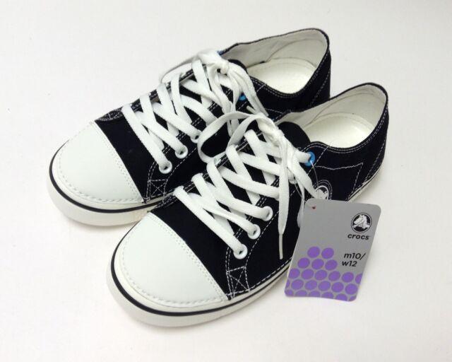 a5d5a3d44c4f Crocs Hover Lace Up Men Canvas Lightweight Sneaker Black White 7 8 9 10 11  12