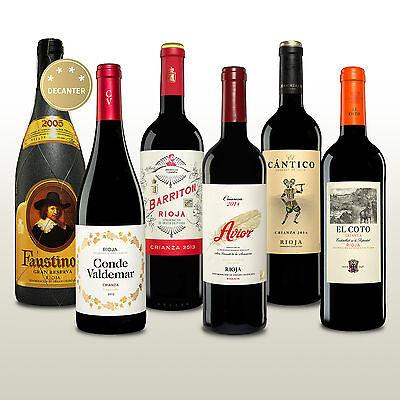 6 Fl. Rotwein aus der Rioja, Tempranillo aus Spanien, Weinpaket, Barrique, -50%