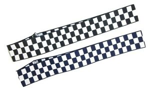 White Black Navy 40mm Banding Police Checkered Hat Cap Band Ribbon