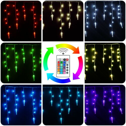 String Curtain Lights Christmas Icicle Lights Set Remote Extendable 20x2ft RGB