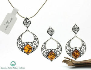 NATURAL-BALTIC-AMBER-SILVER-925-SET-EARRINGS-amp-PENDANT-CHAIN-Certified-amp-BOX