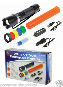 Deluxe-3-Watt-Cree-XPE-LED-Zoom-Rechargeable-Flashlight-120-Lumens-4-Filters
