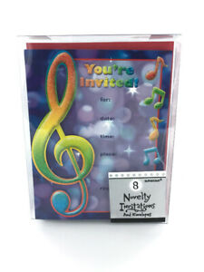 Music-Note-Birthday-Invitations-2-Boxes-8-per-box-Kids-Music-Theme
