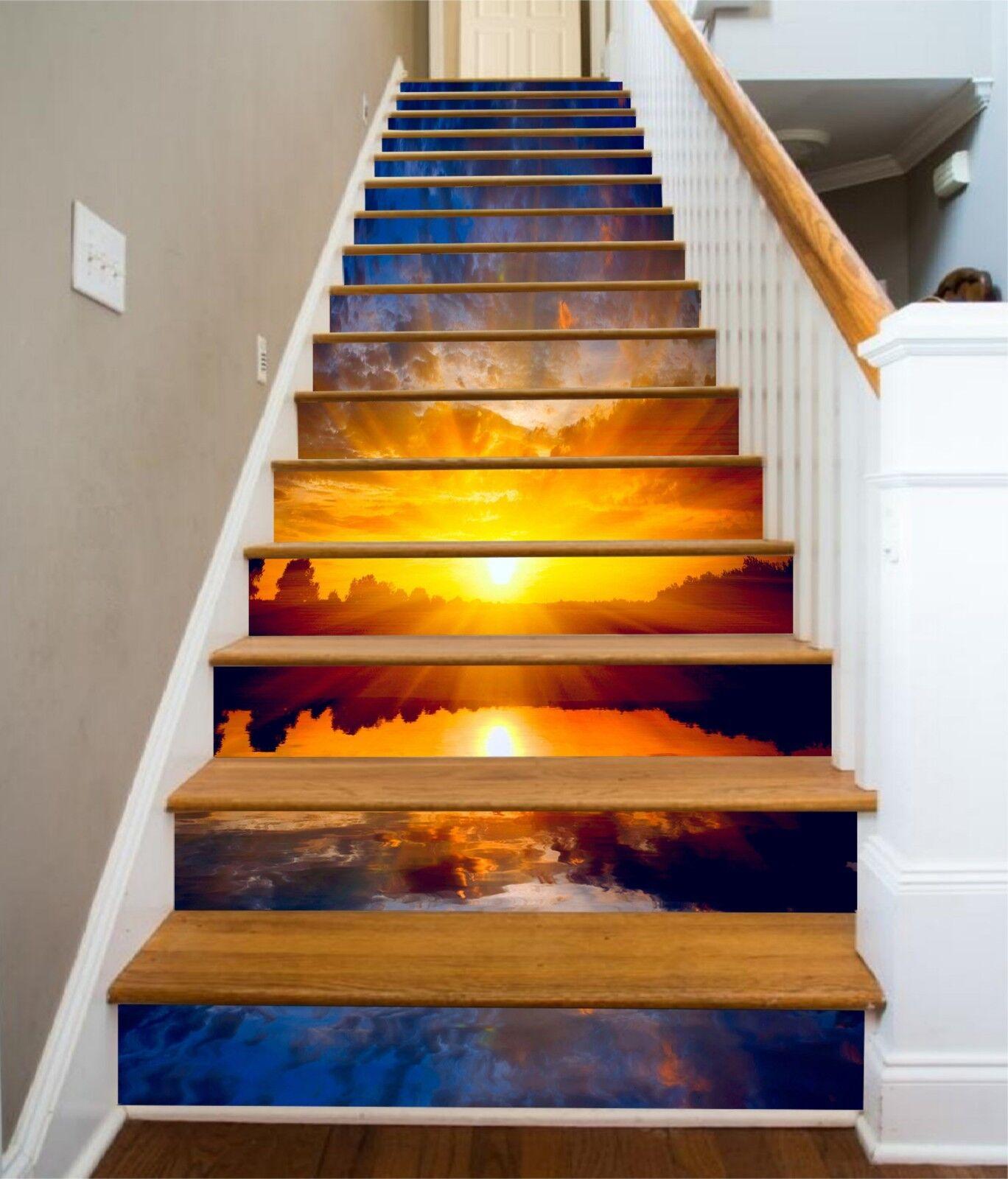 3D Sky Sunset Stair Risers Decoration Photo Mural Vinyl Decal WandPapier CA