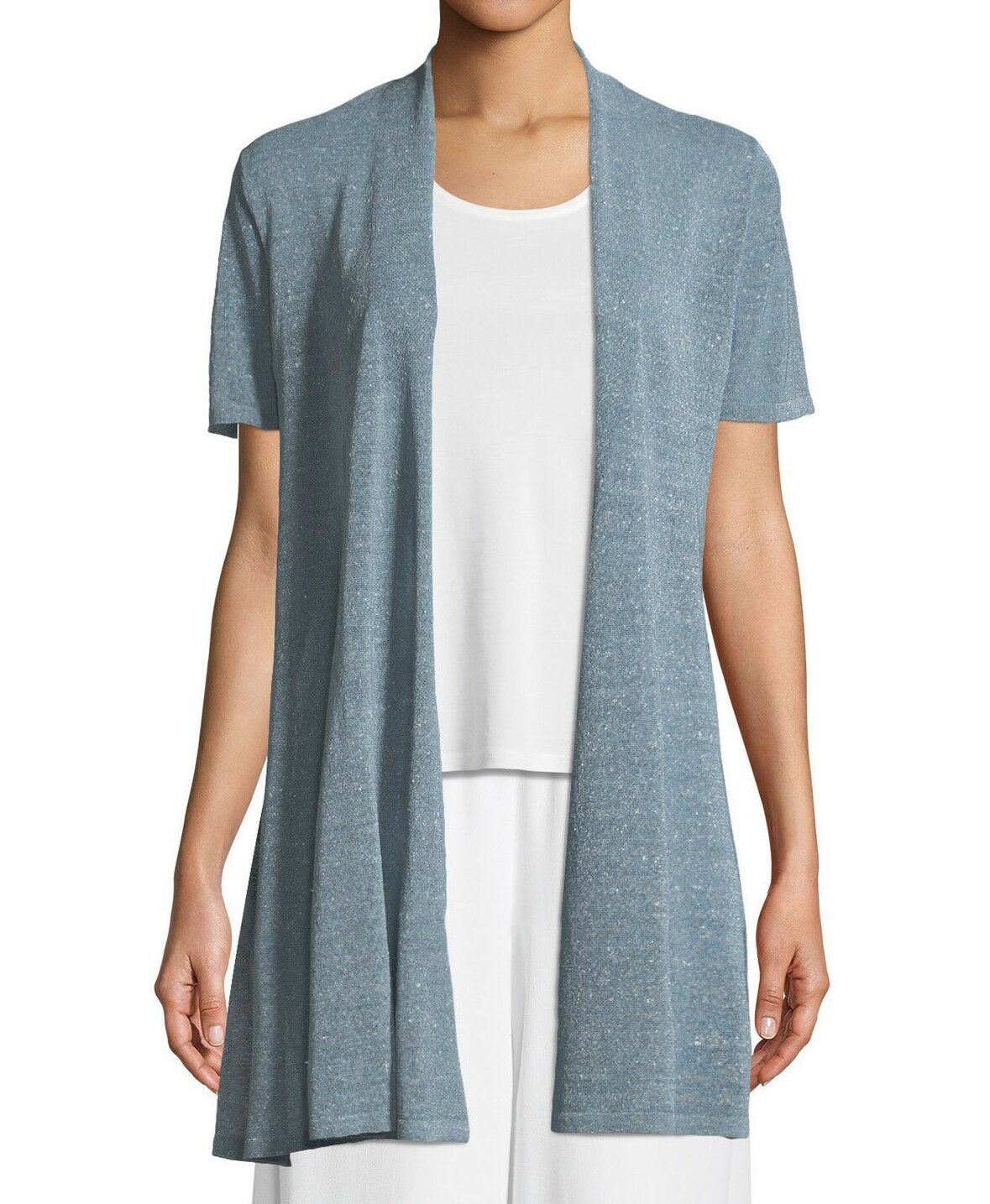 Eileen Fisher Organic Linen Crepe Shimmer Long Cardigan Petite Size PL
