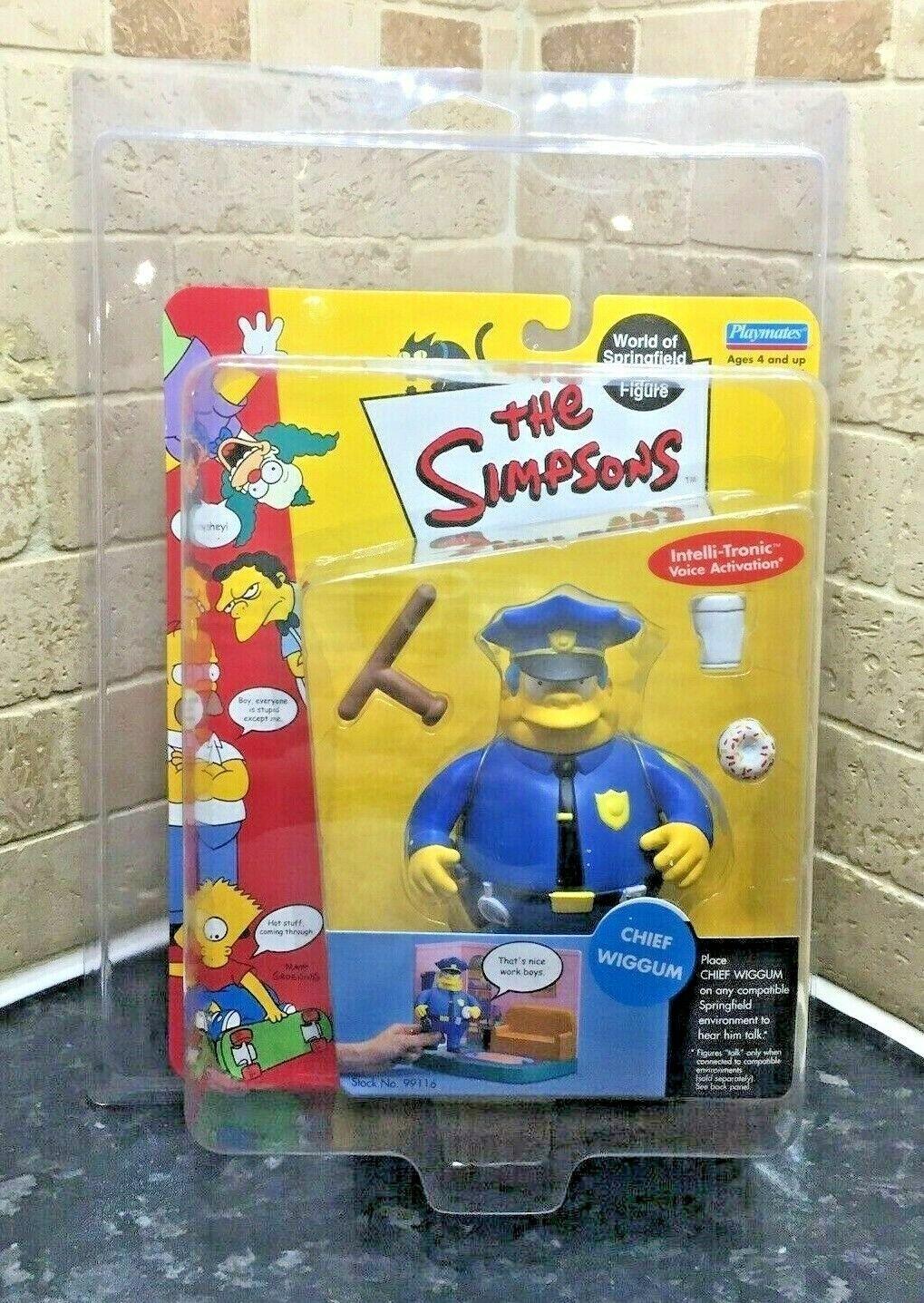 Polischef Wiggum 2000 Simpsons Figur WOS värld of Simpsons Pro Cased