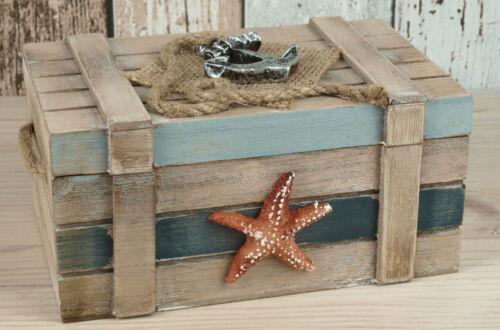 Maritime Holztruhe Truhe Schmucktruhe Box Schatulle Anker /& Seestern 16x10x8cm