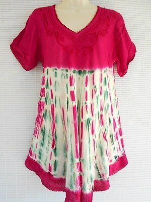 Rayon Embroidery Tunic One Size Sleeves Summer Hippie Beach Raspberry