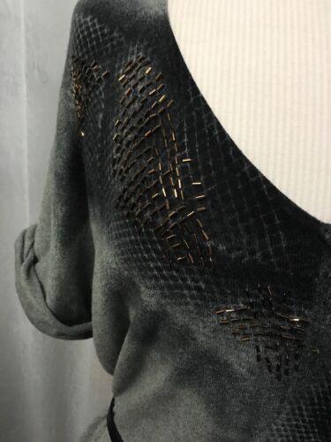 taglia maglione nero Klein donna e Calvin grande con grigio perline cintura Jeans Nuovo z1Uv4x4nwW