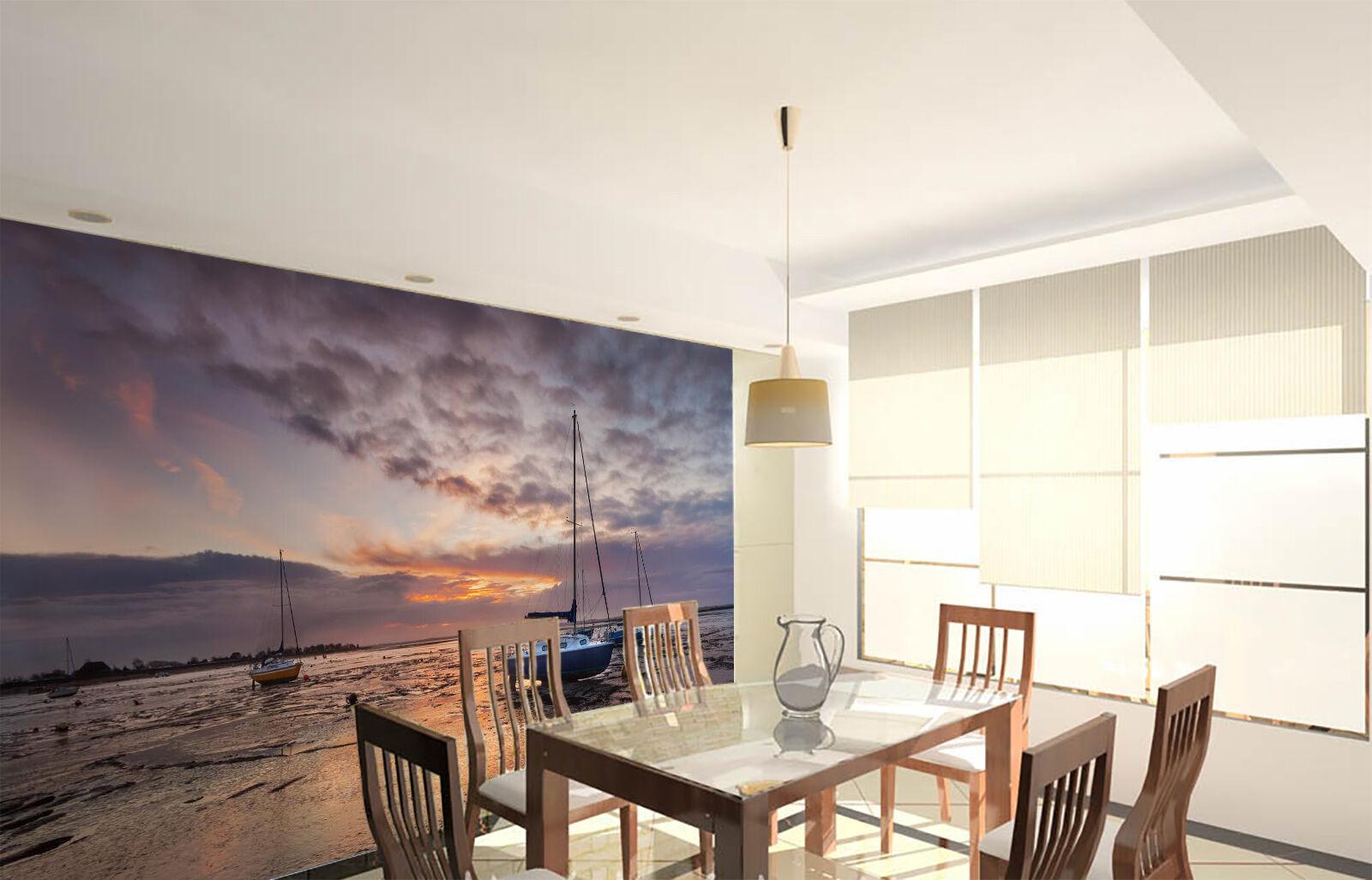3D Soirée Bateau 2 Photo Photo Photo Papier Peint en Autocollant Murale Plafond Chambre Art 2f32d3