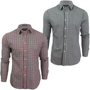 Mens-Gingham-Check-Shirt-by-Crosshatch-039-Larix-039