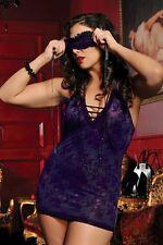 Seven Til Midnight - Purple Eyemask, Chemise, & Thong Set Lot - One Size: Queen