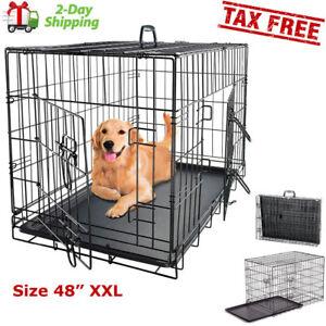 Black 48 2 Door Pet Cage Folding Dog W Divider Cat Crate Cage
