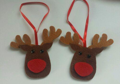 épais Feutre Avec Bijoux Noir Eye 7x7cm 6 feutre renne Décorations pour arbres de Noël