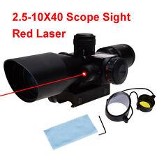 2.5-10x40 Red Green Dot Optic Scope Laser Sight Cross 20mm Rail Mount For Hunt