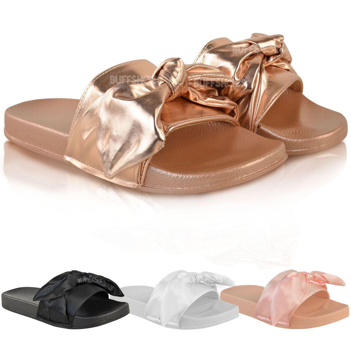 Womens Ladies Slider Flat Slides Sandals Summer Slip On Mules Slipper Summer Sandals Shoes Size 3aecf1