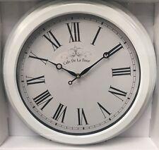 White Metal Wall Clock NEW French Cafe De La Tour Roman Numerals Vintage Style