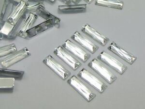 200-Clear-Acrylic-Flatback-Rectangle-Rhinestone-Gems-5X15mm-No-Hole