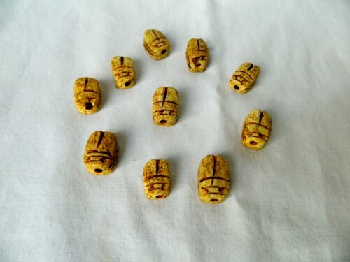 """10 Small Ceramic Egyptian Scarabs Lucky Charm Tan Antique Color only 0.75/"""""""