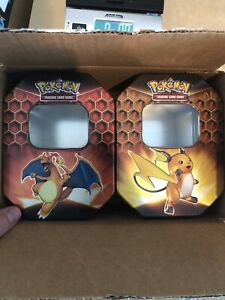 Pokemon-Hidden-Fates-Raichu-And-Charizard-Tins-EMPTY