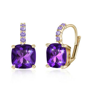 Flower-Earrings-Dangle-Trumpet-Lily-Dark-Purple-Leverback-Silver-Plated