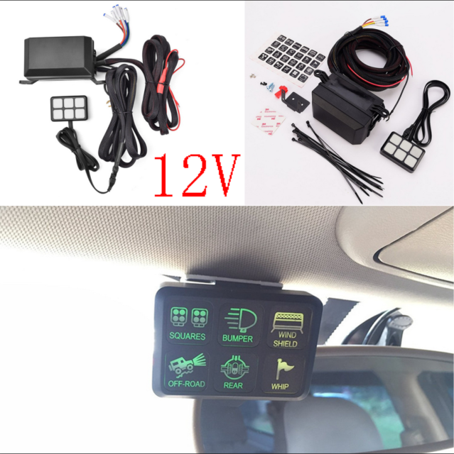 12v universal 6 led switch panel relay control box wiring harness rh ebay com