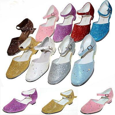 ☆NEU☆Glitzer Lack Mädchen Schuhe Blumenmädchen Hochzeit Fasching Festkleid☆24-35