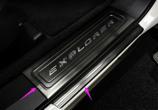 Stainless Built-in Welcome Pedal Door Sill Scuff Trim For Audi Q7 2016-2018