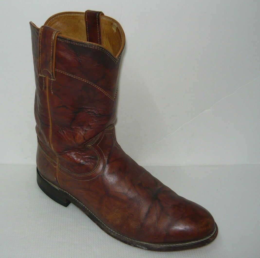 Justin 3163 Western Brown Leather Boots Size 9.5