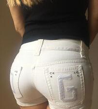 Dolce Gabbana DG Women's Short Jeans White Denim Rhinestone Size US 28 IT 38