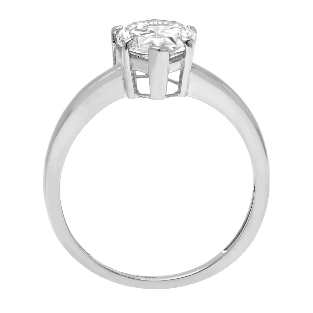 1.25 ct Pear Cut Classic Solitaire Engagement Promise Ring Solid 14k White gold
