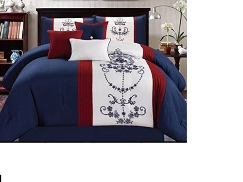 Luxurious 7 Piece Embroiderot  Bedding Comforter Set with accent pillows New.