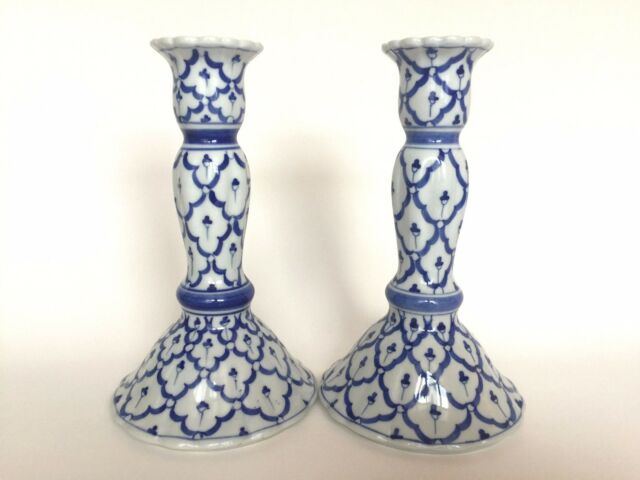 Pair of Vintage Blue and White Porcelain Hand Painted Candlestick Holders