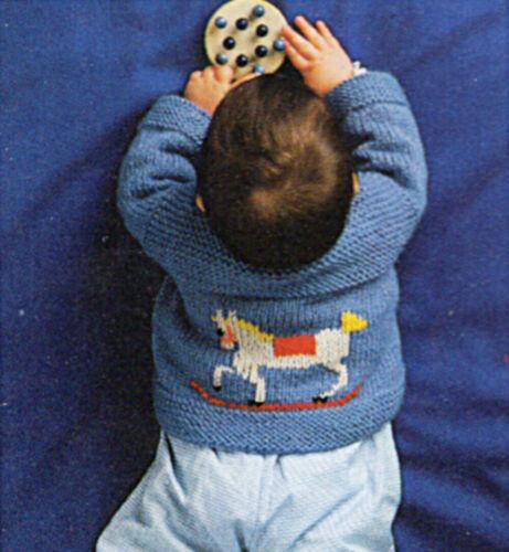 Knitting Pattern Baby Jacket with Rocking Horse Motif 6 sizes 0-24M P0381