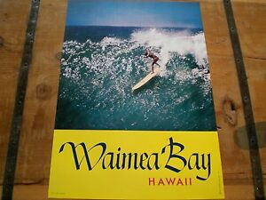 VINTAGE-1960-039-s-MIKE-DOYLE-Surfing-WAIMEA-BAY-SURF-Poster-Mint-Condition