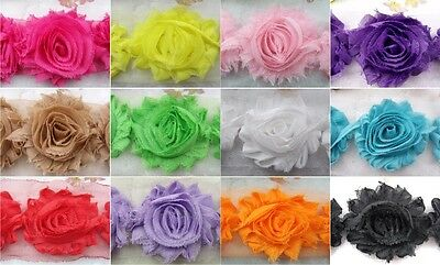 "144pcs baby girl  2.5"" Shabby Rose Frayed Chiffon Hair Flower Bow Trim 12 colors"