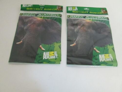 Party Supplies Animal Planet Plastic Happy Birthday Banner 8 ft Lot of 2