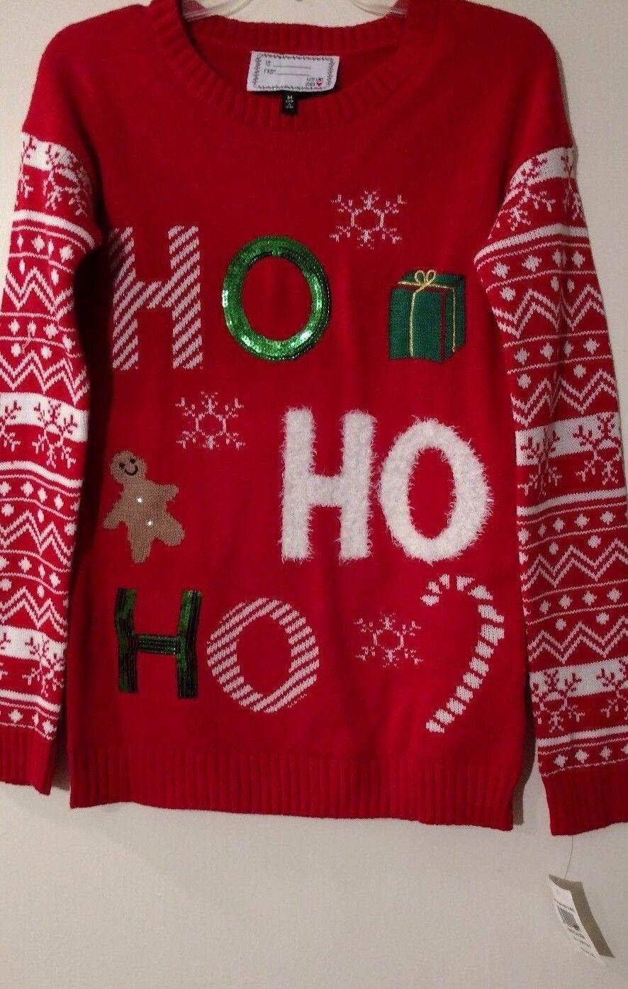 Womens Sweater Red Derek Heart Gingerbread Gingerbread Gingerbread Man Snowflakes Ho Ho Ho Soft Knit M fef08e